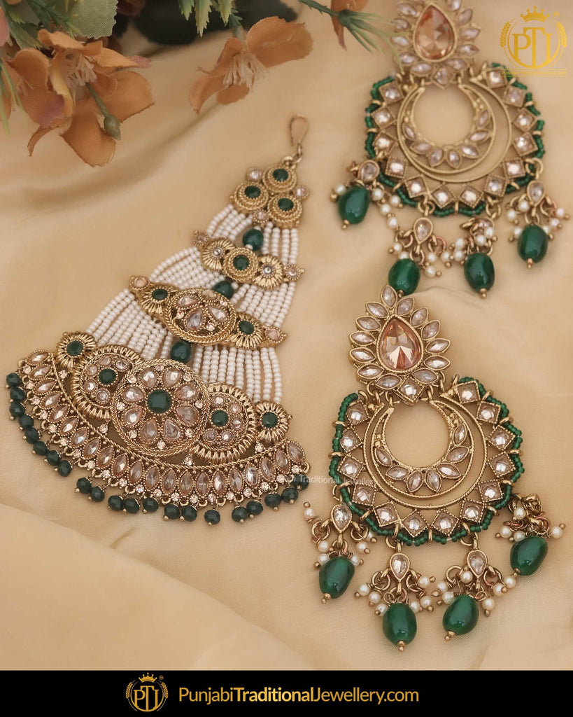 Gold Finished Champagne Stone Emerald Pearl Earrings & Passa | Punjabi Traditional Jewellery Exclusive