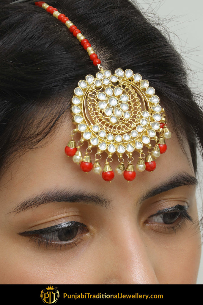 Badriyah Red Kundan Tikka | Punjabi Traditional Jewellery Exclusive