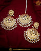 Gold Finished Jadau Kundan Pearl Earring Tikka Set | Punjabi Traditional Jewellery Exclusive