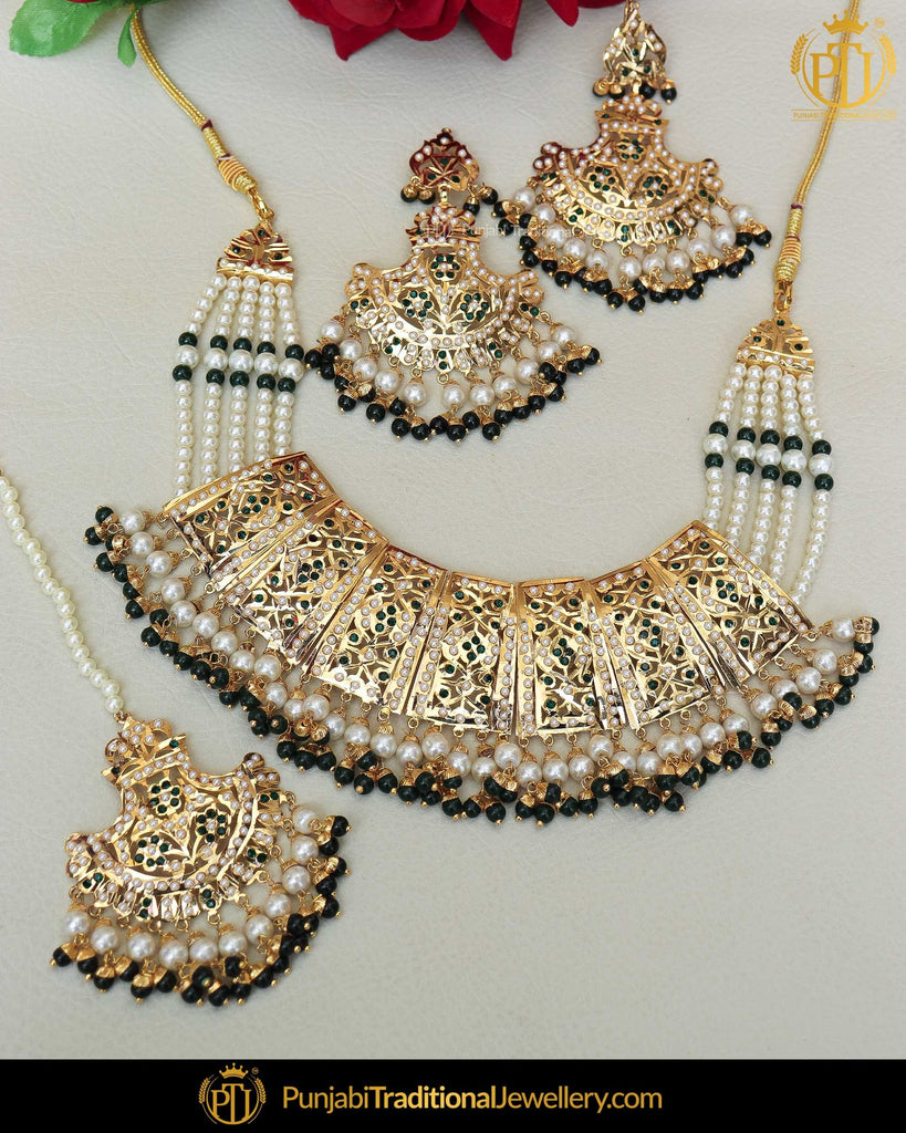 Gold Finished Emerald Jadau Pearl Necklace Set  | Punjabi Traditional Jewellery Exclusive