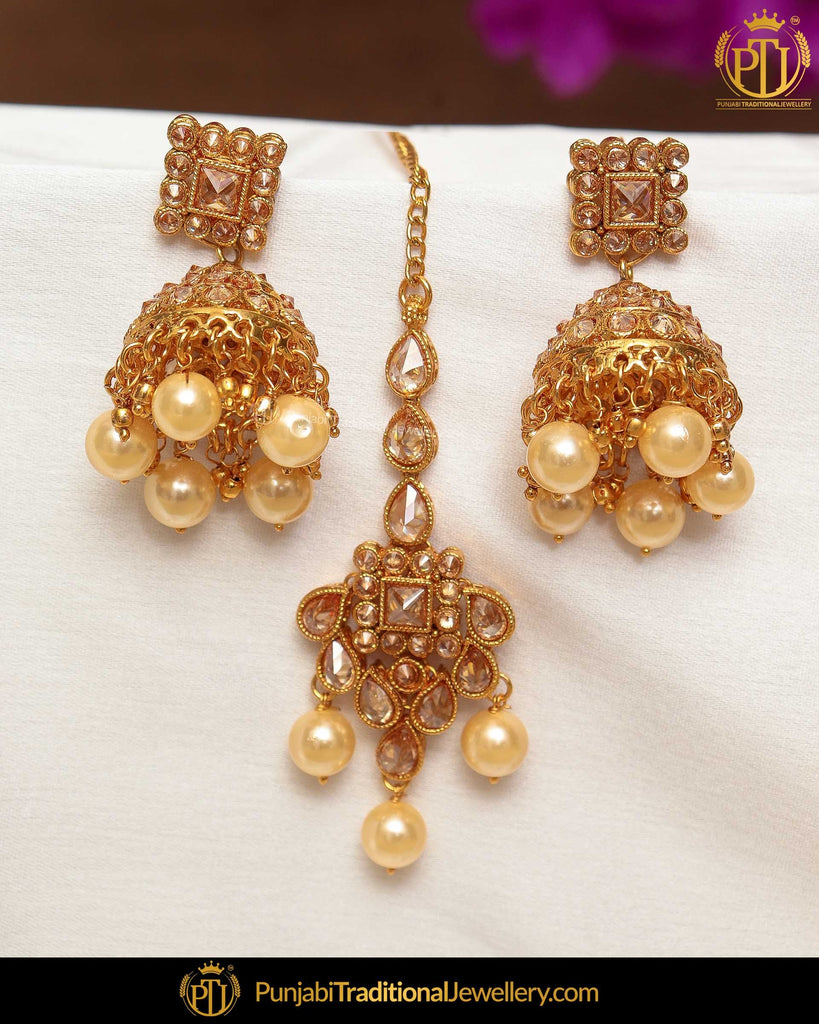 Gold Finished Chamapgne Stone Pearl Jhumki Earring Tikka Set | Punjabi Traditional Jewellery Exclusive