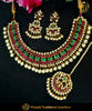 Kundan Rubby Emerald Pearl Bridal Necklace Set | Punjabi Traditional Jewellery Exclusive