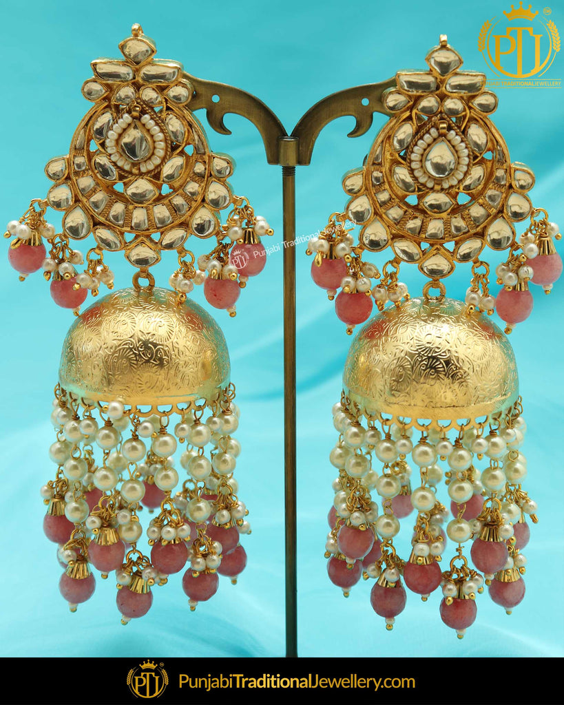 Gold Finished Peach Kundan Jhumki Earrings | Punjabi Traditional Jewellery Exclusive