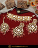 Gold Finished Peach Kundan Pearl Necklace Set | Punjabi Traditional Jewellery Exclusive
