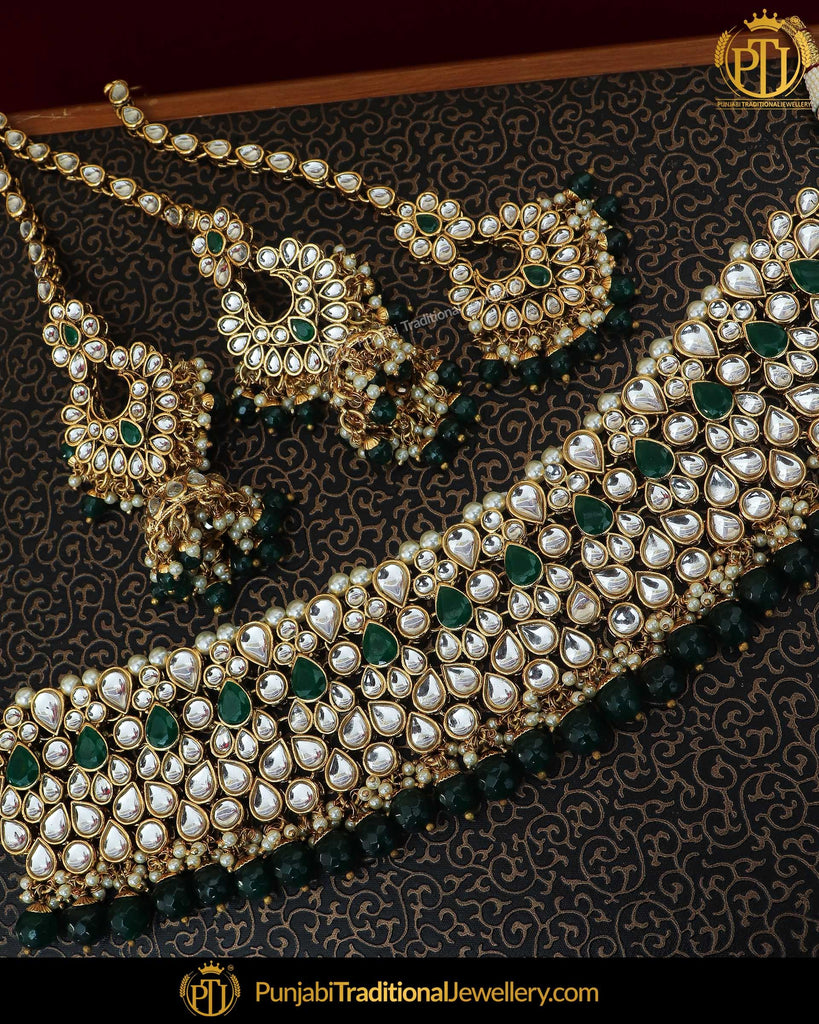 Gold Finished Emerald Kundan Pearl Choker Necklace & Sahare Earrings | Punjabi Traditional Jewellery Exclusive