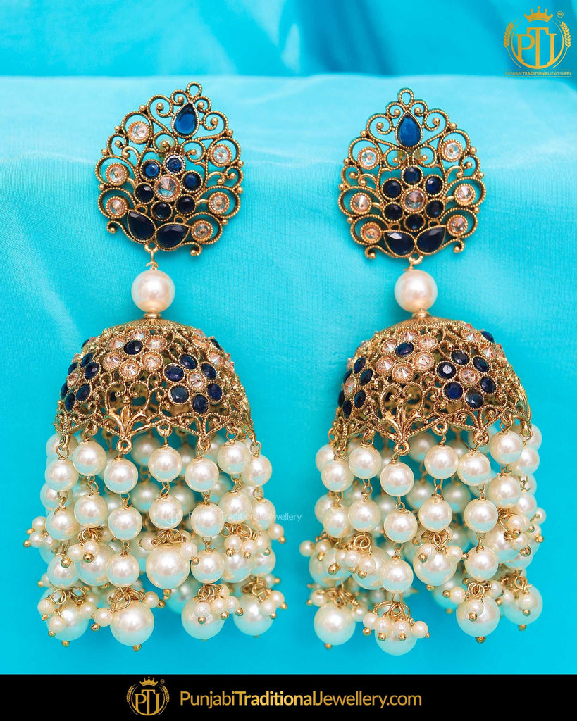 Gold Finished Chamapgne Stone Blue Jhumki Earrings | Punjabi Traditional Jewellery Exclusive