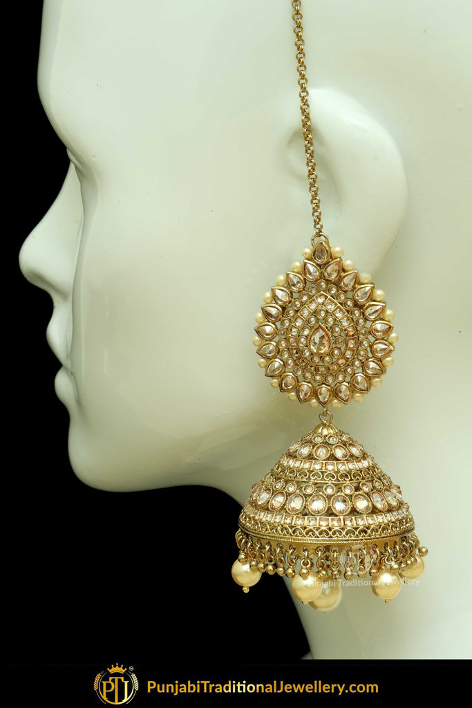Gold Finished Pearl Jhumki Champagne Stone Sahare Earrings | Punjabi Traditional Jewellery Exclusive