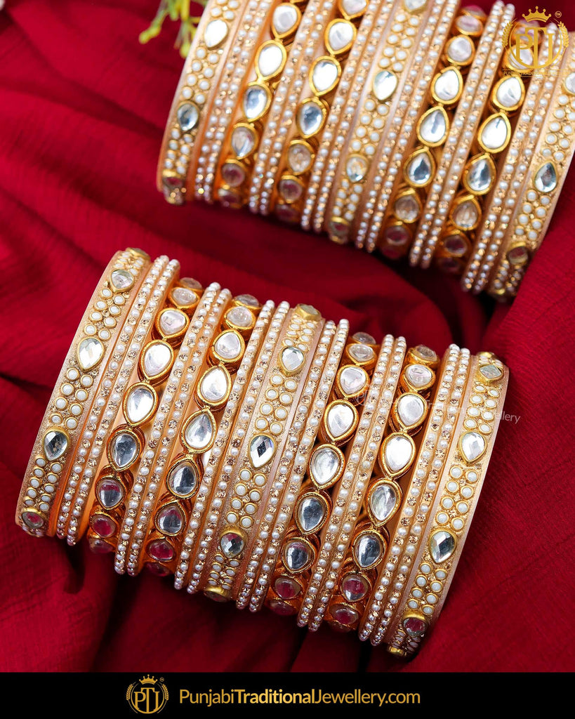 Gold Finished Kundan Pearl Bangles Set (Both Hand Pair) | Punjabi Traditional Jewellery Exclusive