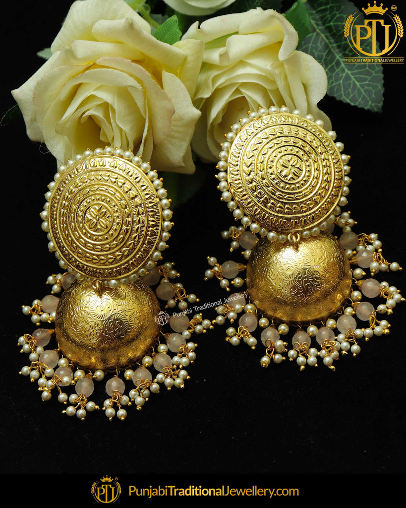 Gold Finished Patra Pearl Peach Jhumki Earrings | Punjabi Traditional Jewellery Exclusive