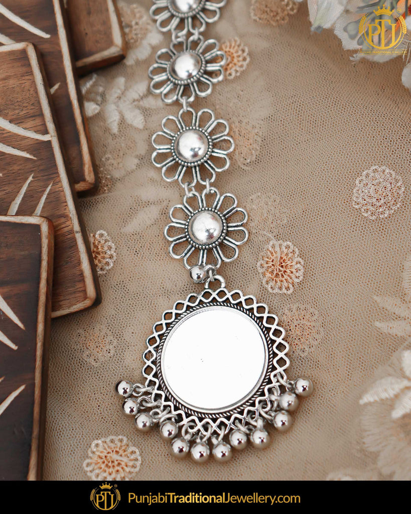 Afghan Silver Finished Oxidised Mirror Tikka | Punjabi Traditional Jewellery Exclusive