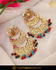 Gold Finished Pearl Navratan  Jadau Earrings | Punjabi Traditional Jewellery Exclusive