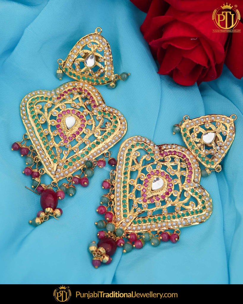 Gold Finished Jadau Multi Earring Tikka Set | Punjabi Traditional Jewellery Exclusive