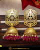 Gold Finished Pink Jhumki Pearl Earrings | Punjabi Traditional Jewellery Exclusive