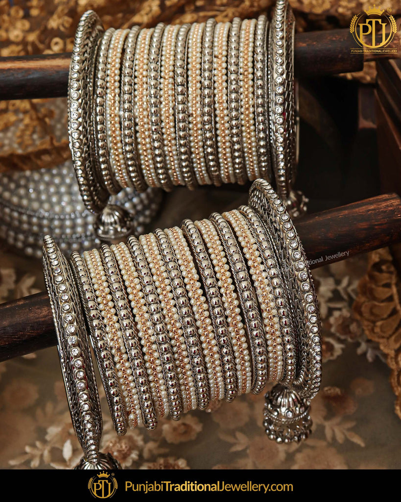 Silver Plated Pearl Bangles Set For Both Hands |  Punjabi Traditional Jewellery Exclusive
