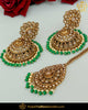Antique Gold Finished Green Champagne Stone Jhumki Earrings & Tikka | Punjabi Traditional Jewellery Exclusive
