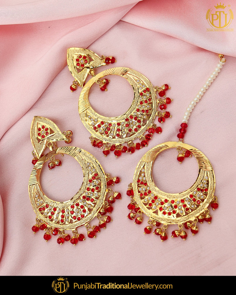 Gold Finished Pearl Rubby Jadau Earring Tikka Set | Punjabi Traditional Jewellery Exclusive