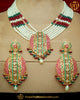 Gold Finished Navratan Jadau Necklace Set | Punjabi Traditional Jewellery Exclusive