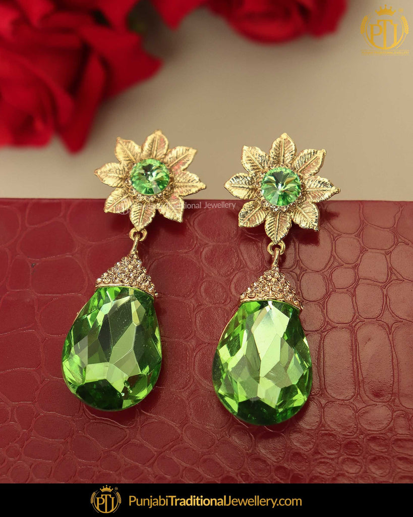 Gold Finished Green Crystal Earrings | Punjabi Traditional Jewellery Exclusive
