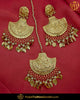 Antique Gold Finished Pippal Patti Patra Pearl Earring  Set | Punjabi Traditional Jewellery Exclusive