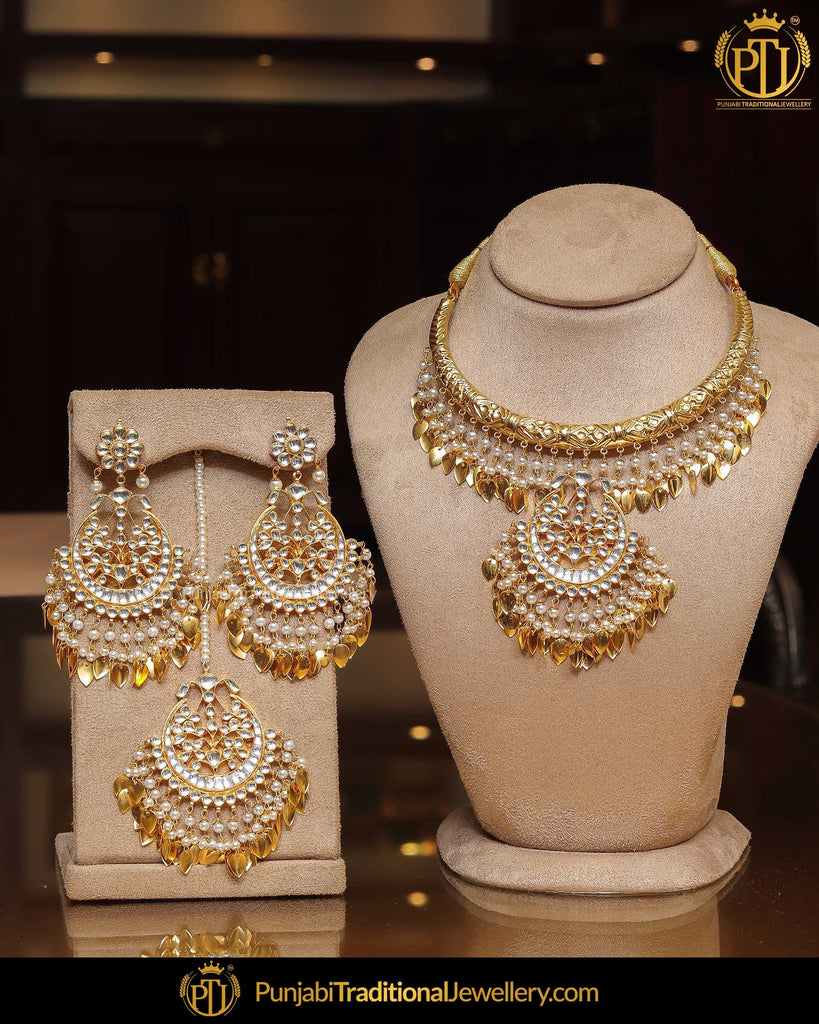Gold Finished Pearl Pippal Patti Kundan Hasli Necklace Set | Punjabi Traditional Jewellery Exclusive