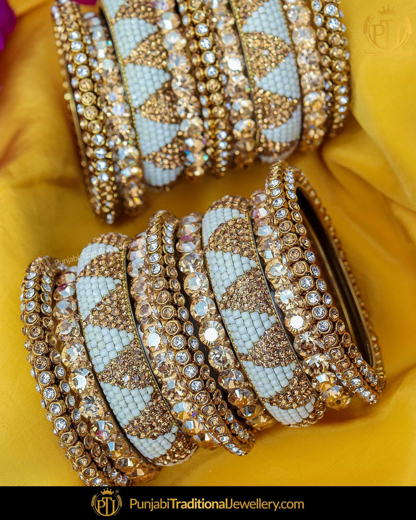 Gold Finished Polki Firozi Pearl Bangles Set (Both Hand Pair) | Punjabi Traditional Jewellery Exclusive