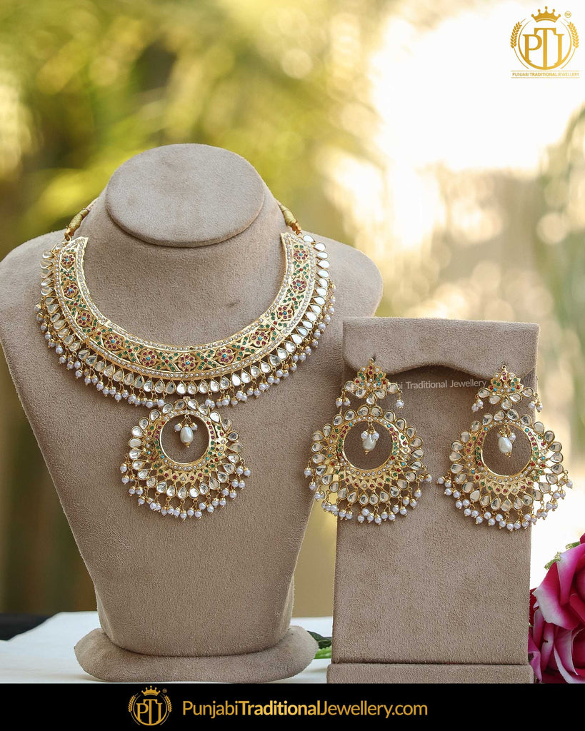 Gold Finished Eamrald Rubby Pearl Kundan Jadau Necklace Set | Punjabi Traditional Jewellery Exclusive