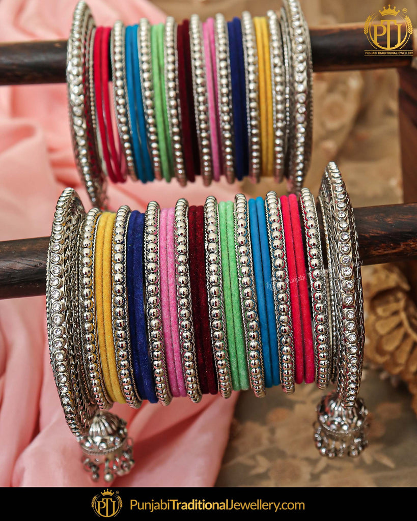 Silver Plated Multi Pearl Bangles Set For Both Hands | Punjabi Traditional Jewellery Exclusive
