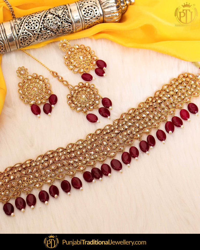 Gold Finished Rubby Champagne Stone Pearl Choker Necklace Set  | Punjabi Traditional Jewellery Exclusive