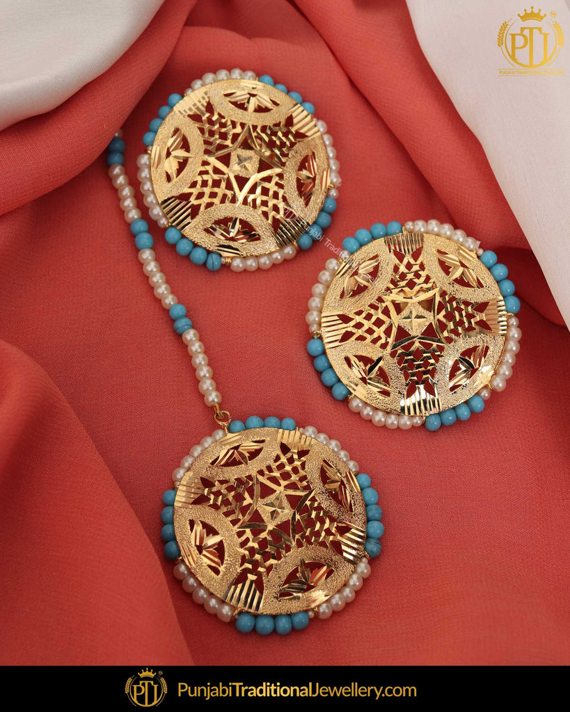 Gold Finished Firozi Jadau Stud Pearl Earring Tikka Set | Punjabi Traditional Jewellery Exclusive