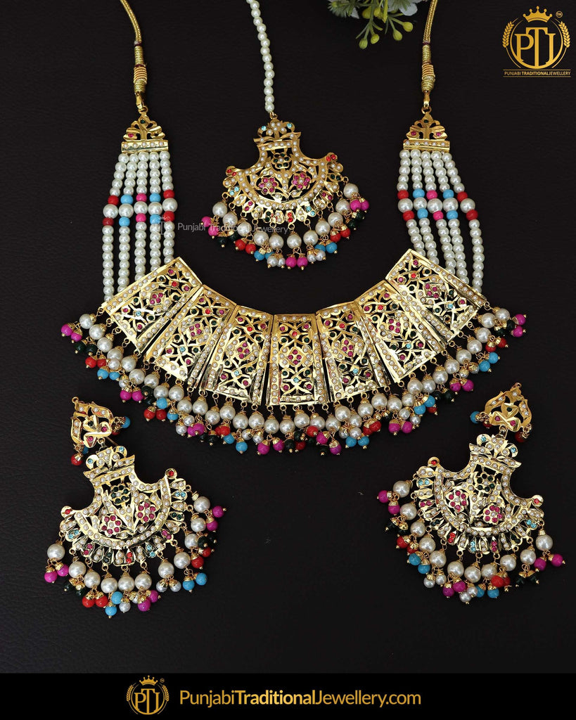 Gold Finished Navratan Jadau Pearl Necklace Set  | Punjabi Traditional Jewellery Exclusive