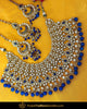 Gold Finished Blue Kundan Pearl Choker Necklace & Sahare Earrings | Punjabi Traditional Jewellery Exclusive