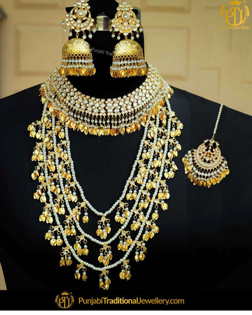 Gold Finished Kundan Pippal Patti Pearl Bridal Necklace Set | Punjabi Traditional Jewellery Exclusive
