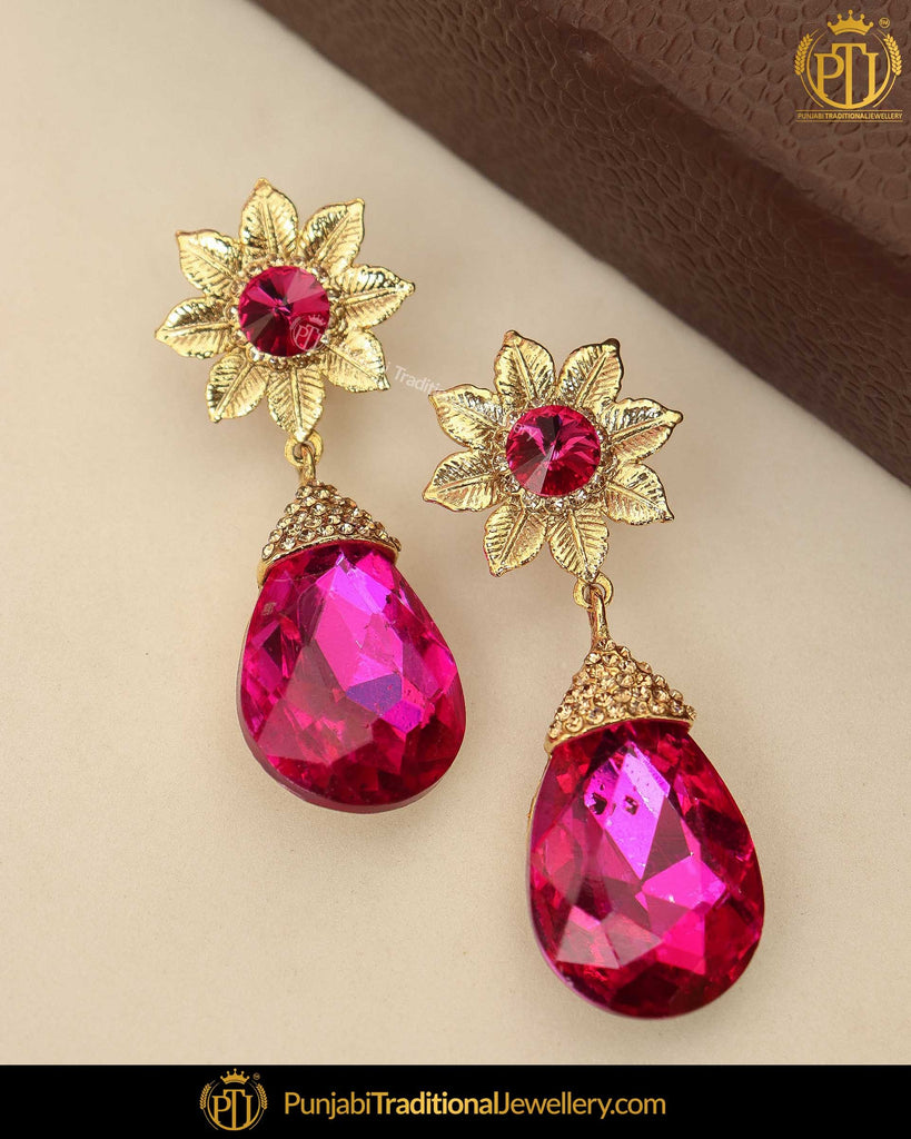 Gold Finished Pink Crystal Earrings | Punjabi Traditional Jewellery Exclusive