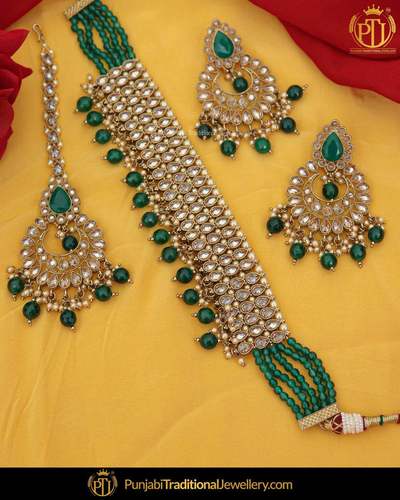 Gold Finished Champagne Stone Green Pearl Choker Necklace Set | Punjabi Traditional Jewellery Exclusive