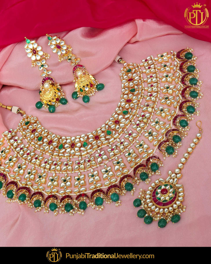 Gold Finished Kundan Rubby & Emerald Pearl Bridal Necklace Set | Punjabi Traditional Jewellery Exclusive