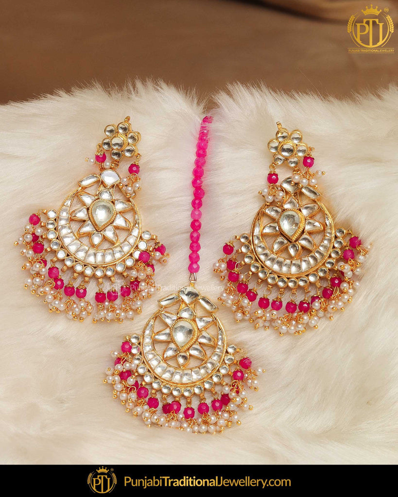 Gold Finished Pink Kundan Earrring Tikka Set | Punjabi Traditional Jewellery Exclusive