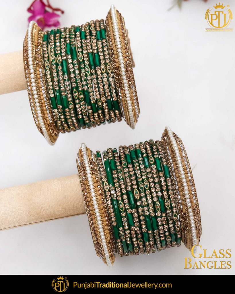 Green & Gold (For Both Hands) Glass Bangles Set | Punjabi Traditional Jewellery Exclusive