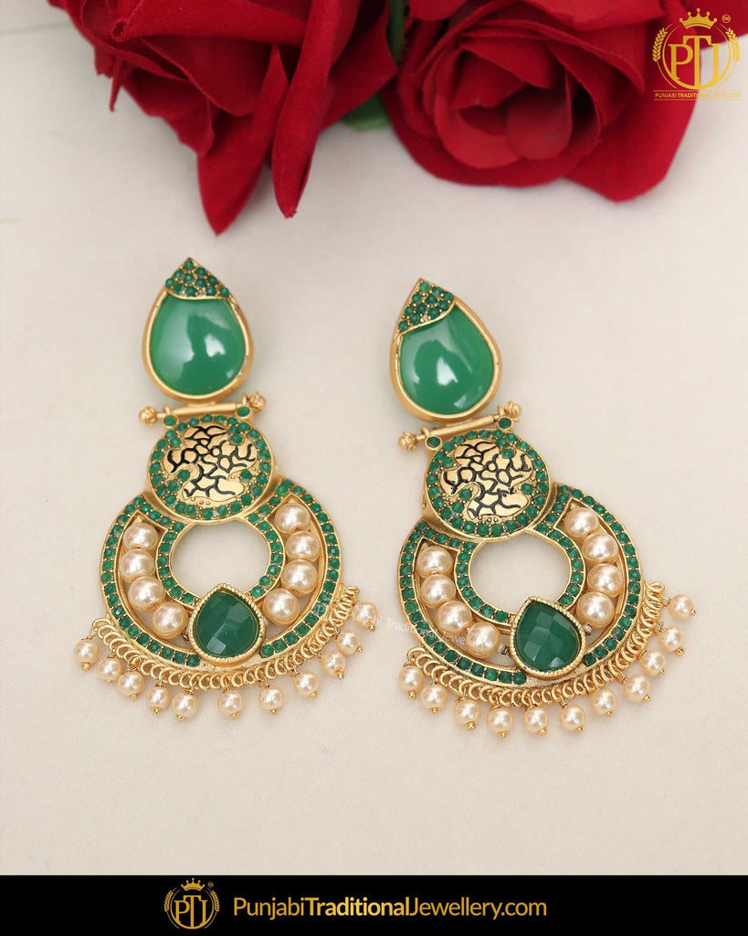 Gold Finished Emerald Pearl Earrings | Punjabi Traditional Jewellery Exclusive