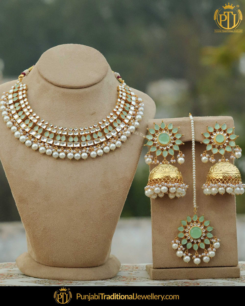 Gold Finished New Jade Pearl Bridal Necklace Set | Punjabi Traditional Jewellery Exclusive