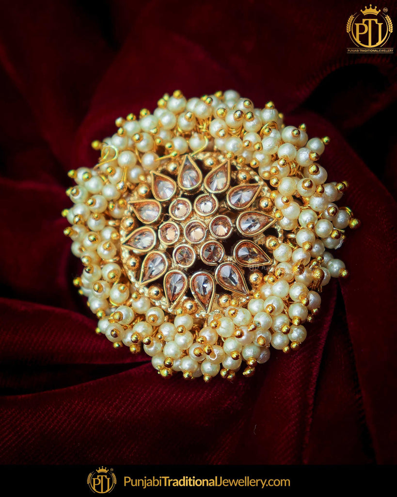 Gold Finished Pearl Champagne Stone Ring | Punjabi Traditional Jewellery Exclusive