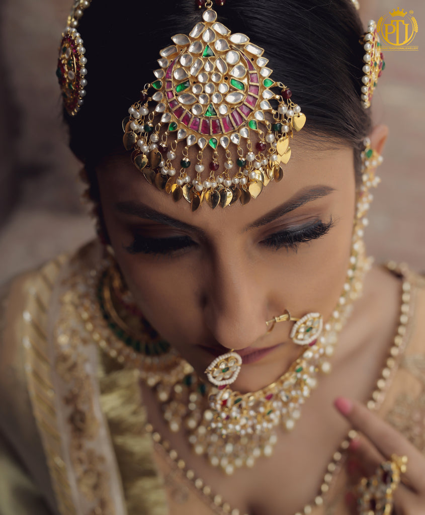 Mahnoor Rubby Emerald Kundan Pippal Patti Tikka | Rawayat by Punjabi Traditional Jewellery