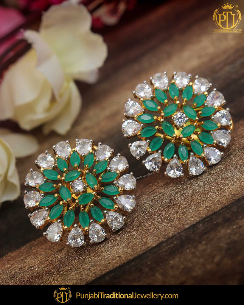 Gold Finished Emerald American Diamond Stud Earrings | Punjabi Traditional Jewellery Exclusive