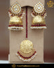 Gold Finished Jhumki Rubby Kundan Pearl Earring Tikka Set | Punjabi Traditional Jewellery Exclusive