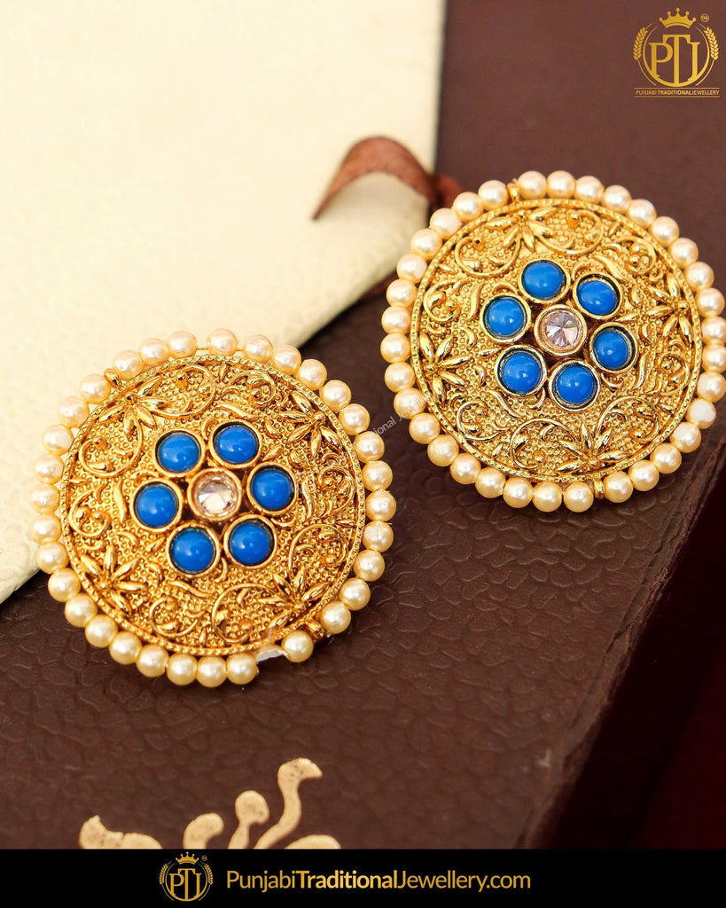 Antique Gold Finished Blue Pearl Stud Earrings | Punjabi Traditional Jewellery Exclusive