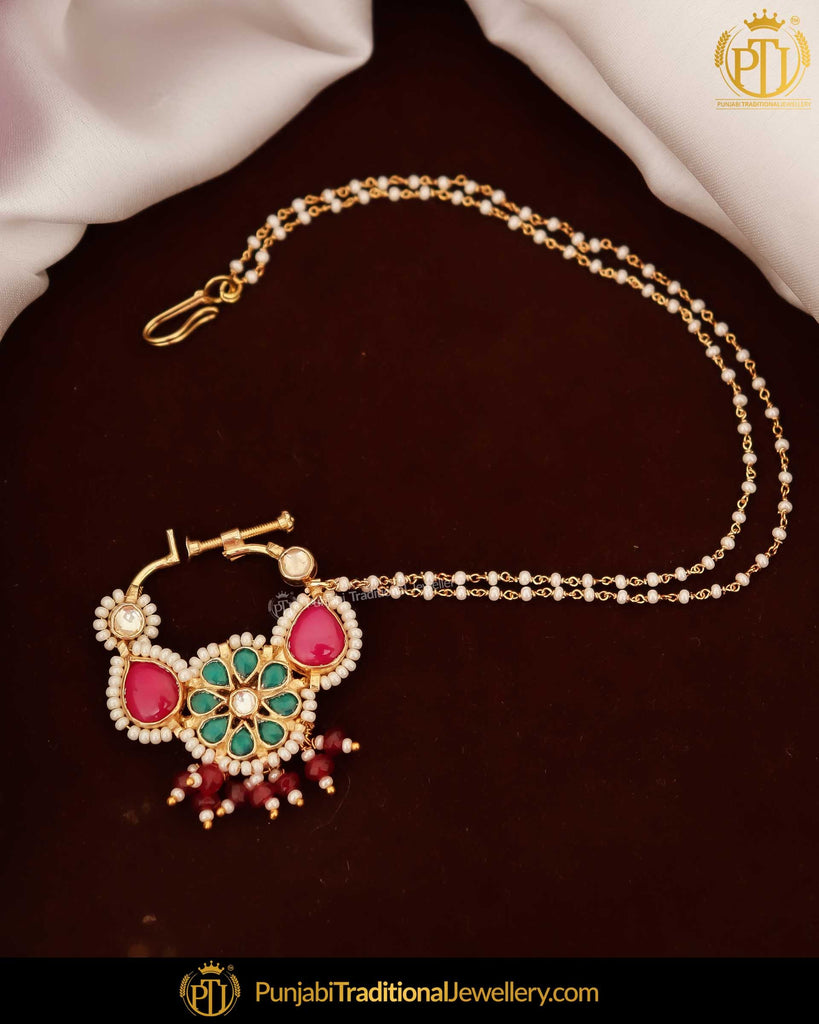 Gold Finished Rubby Green Kundan Pearl Nath | Punjabi Traditional Jewellery Exclusive