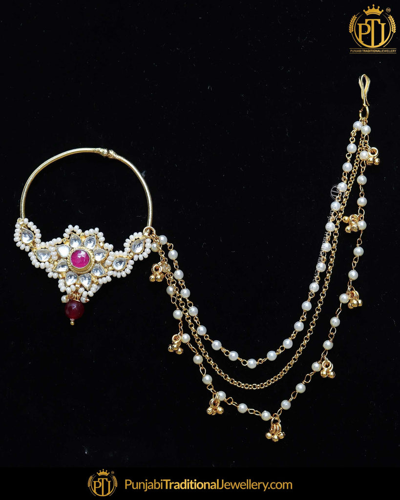 Gold Finished Rubby Kundan Pearl Nath | Punjabi Traditional Jewellery Exclusive