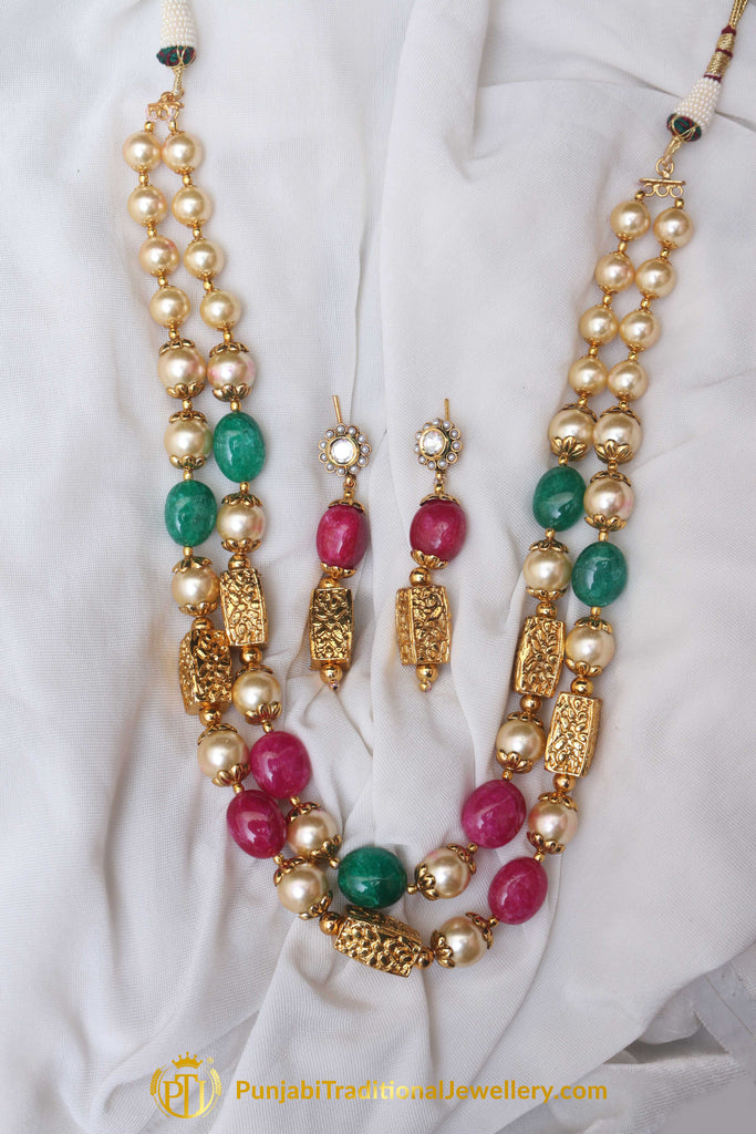 Red & Green Jodha Mala Necklace Set By Punjabi Traditional Jewellery