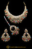 Multi Jadau Pippal Patti Necklace Set By Punjabi Traditional Jewellery
