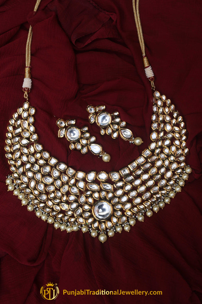Pearl & Kundan Necklace Set By Punjabi Traditional Jewellery