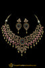 Rani Green Polki Necklace Set By Punjabi Taditional Jewellery